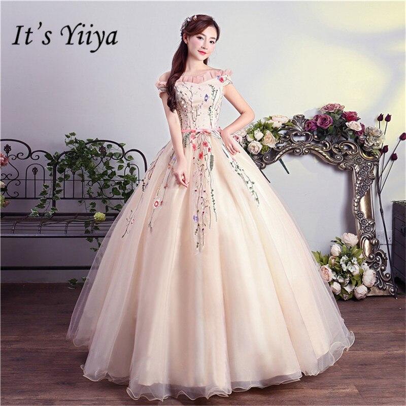 Elegant Romantic Pink Wedding Gowns: Aliexpress.com : Buy It's YiiYa Pink Floor Length Wedding