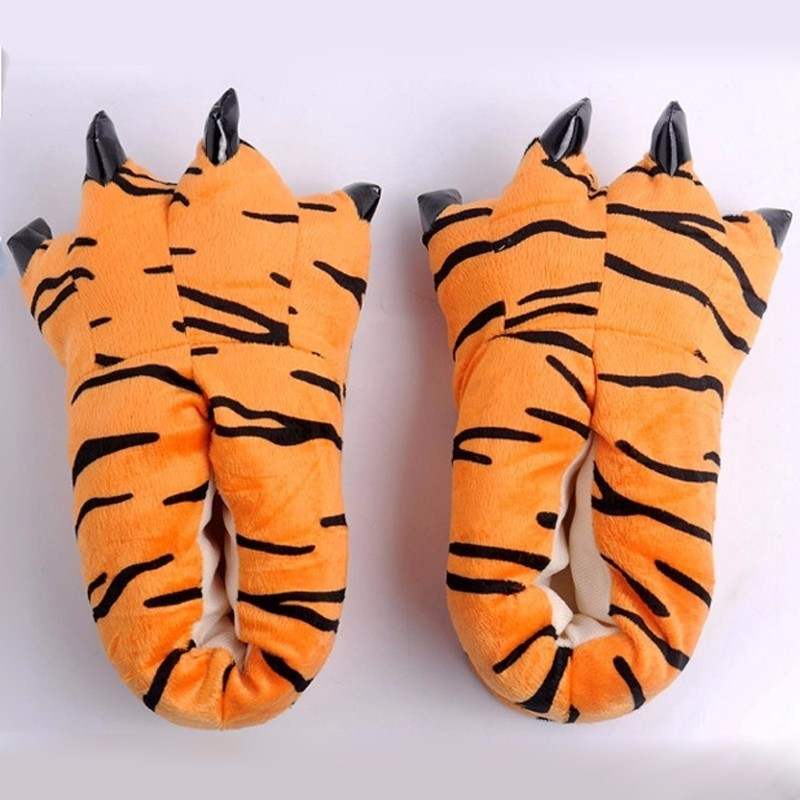 Winter Adult Kids Cow Tiger Warm Cartoon Cute Indoor Floor Slippers Paw Claw Home Shoes Christmas Pajamas Hot Sale Gift image