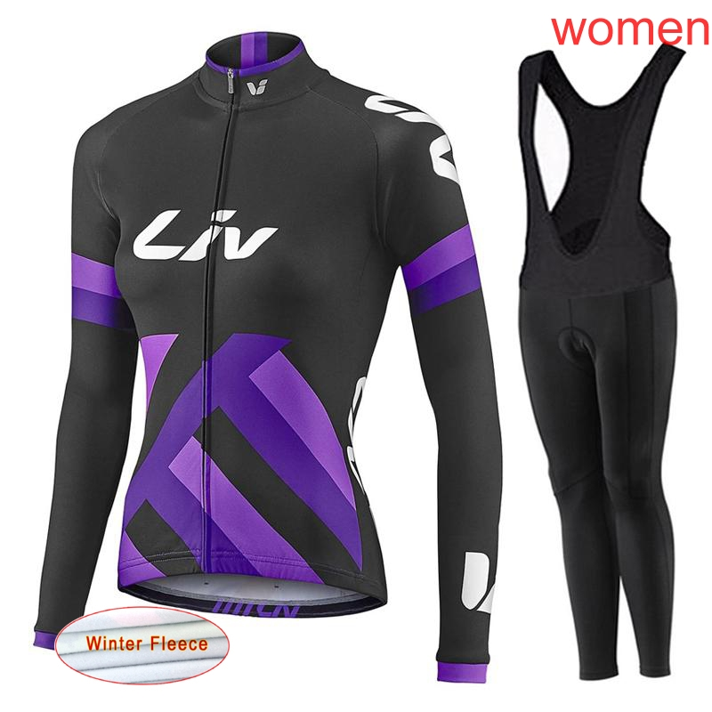 Ropa Ciclismo Mujer Winter Thermal Fleece Pro Cycling Jersey Set Womens 2018 MTB Maillot Bike Long Sleeve Cycling Clothing L2407