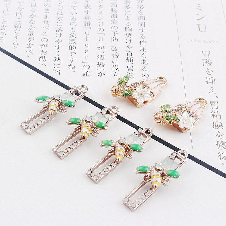 DIY alloy jewelry accessories retro cage bee flowers diamond necklace pendant earrings protein drill