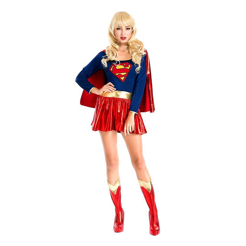 VASHEJIANG  2017 Adult Supergirl Costume  Sexy Girls Cosplay Party Gown Clothing Women Superhero Cosplay Costumes for Halloween
