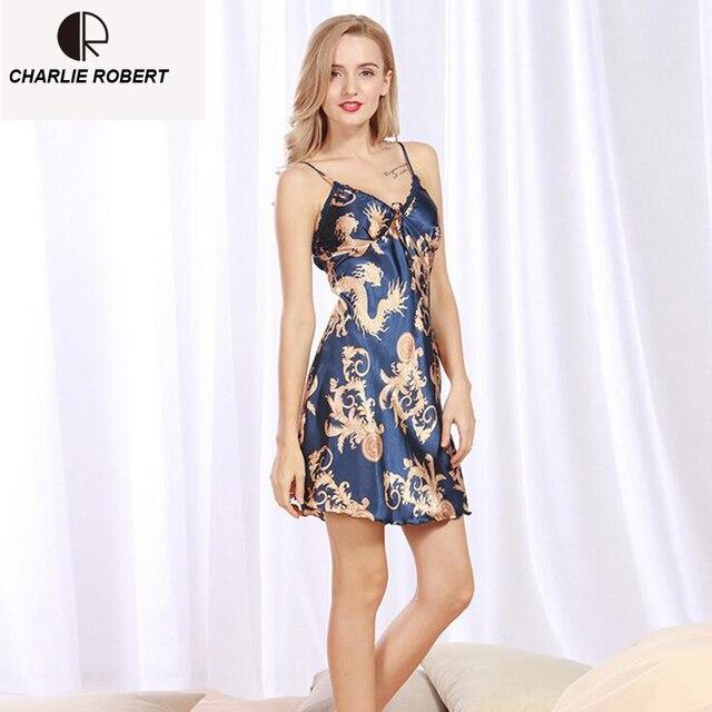 CR New Women\'s Sexy Lingerie Satin Silk Night Dress Print Sleepwear ...