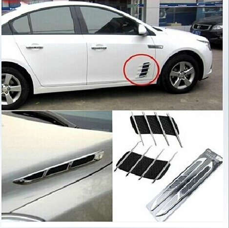 Big sale universal car abs chromium styling stickers simulation vents decorative shark gills outlet side vents in car stickers from automobiles