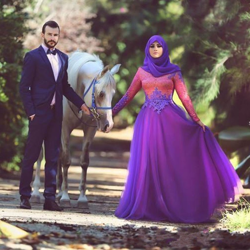 Popular Purple Long Sleeve Wedding Dress-Buy Cheap Purple Long ...