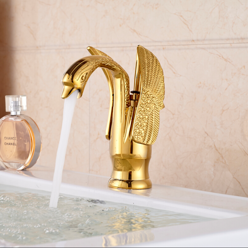 цена на Elegant Swan Shape Brass Gold Finish Bathroom Mixer Taps Deck Mount Basin Vessel Faucet
