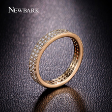 NEWBARK Classic Full Eternity Wedding Band Rings For Women Gold Color 2 Rows CZ Paved Simple