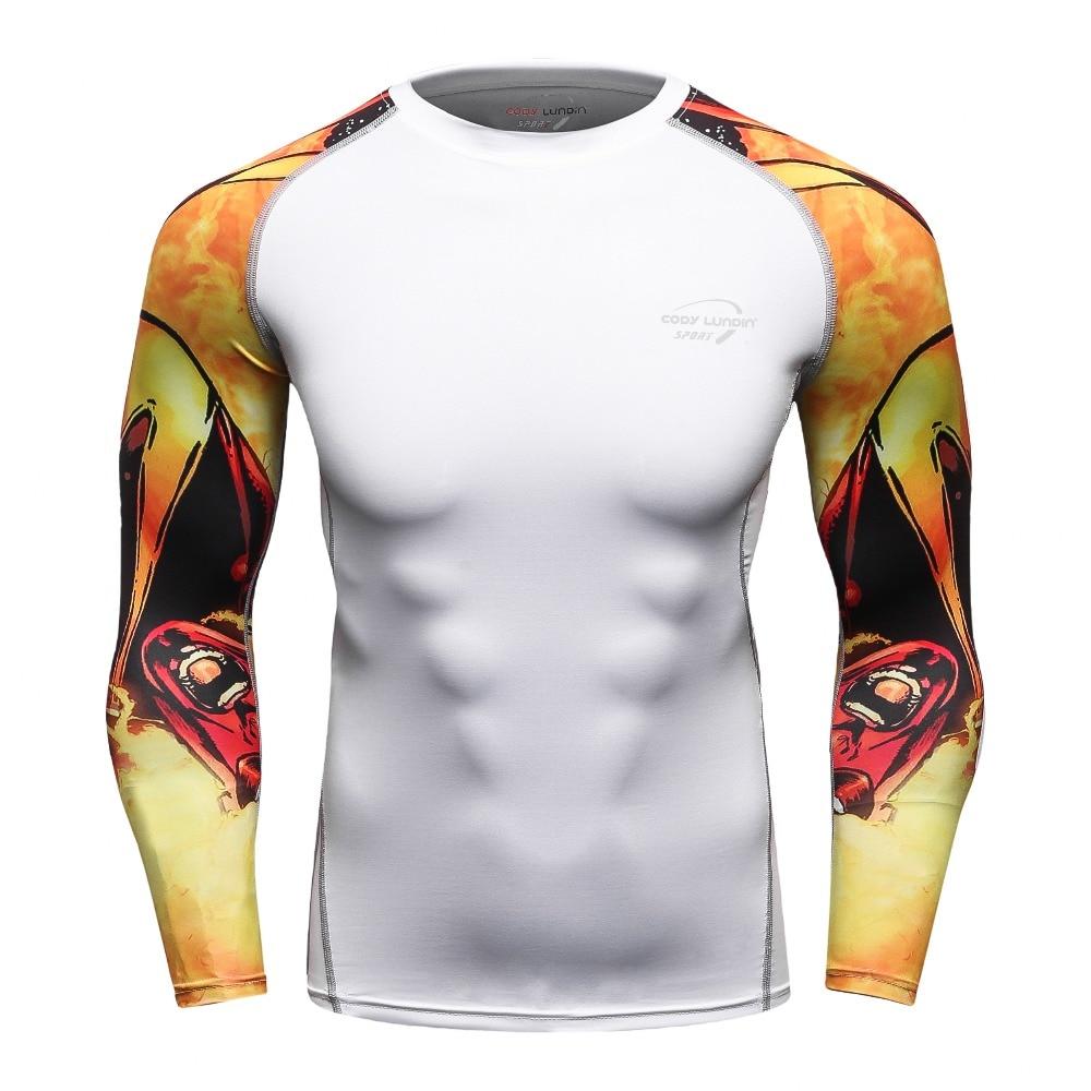 Erkek Sıkıştırma Üstler ve Tee Moda 3d baskı Spor cilt tayt Uzun kollu Çabuk kuru Cody Lundin T-shirt