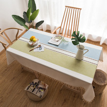 Cotton Linen Table Cloth Dining Cover Stitching Tassel Coffee Store Bar Decorative Tablecloth For Kitchen Home Ornaments