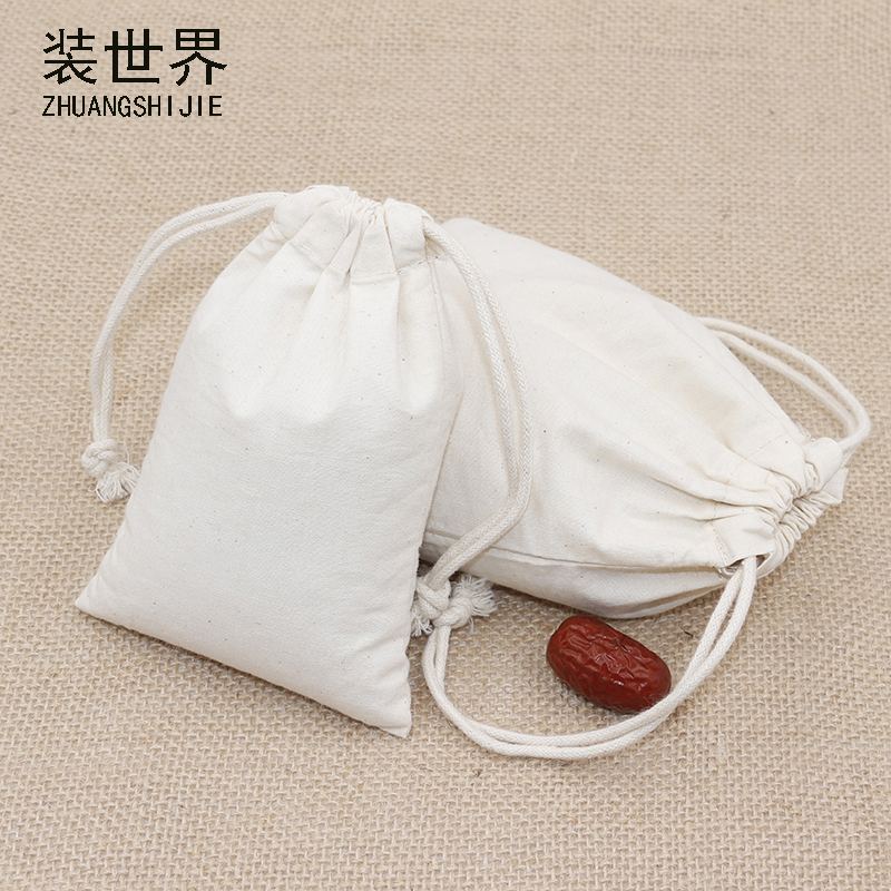 5pcs/lot 10*14.5cm 130g Cotton Pouch Wholesale Storage Bag Logo Printed Drawstring Bags Food Packing Bags Christmas Gifts Pouch