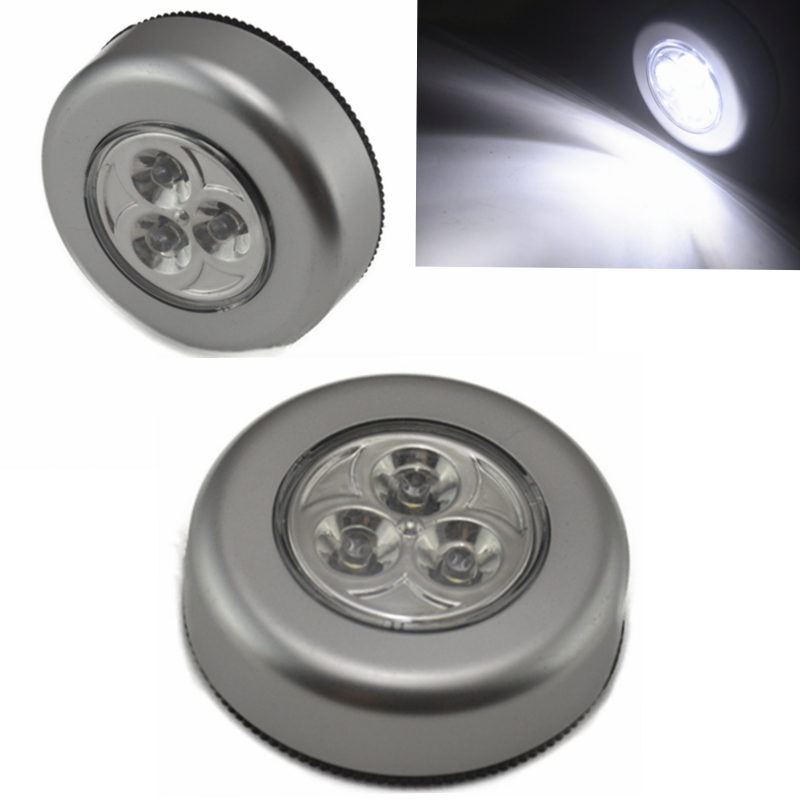 Car Touch light 1pcs Mini 3 <font><b>LED</b></font> Cordless Stick Tap Wardrobe Touch Light Lamp Battery Powered Click on the car trunk light touch image