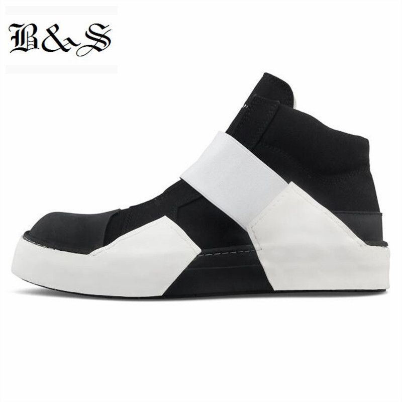 2018 Black&Street New Designer genuine Leather personalized Black And White stripe Patchwork Hip Hop Men Boot stylish star and stripe pattern patchwork 5cm width tie for men
