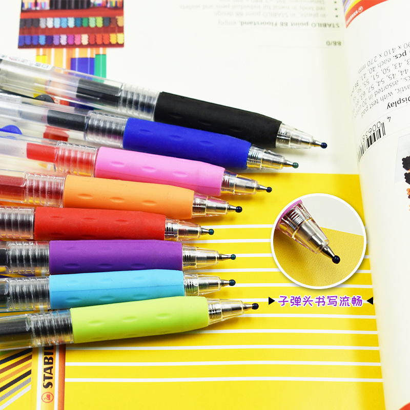 0 5mm Gel Pens For School Office Supplies Kawaii Press Type Multicolor ballpoint pen Cute stationery Writing Store in Gel Pens from Office School Supplies