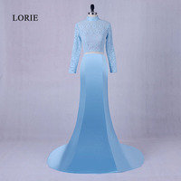 LORI Two Piece Evening Dress High Neck Satin Long Sleeve Lace Mermaid Blue Prom Dress Long Formal Wedding Party Gown for women