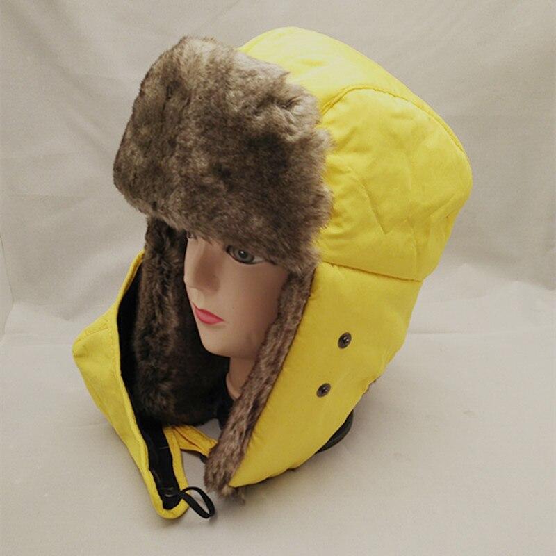 Zielsetzung Bomber Hüte Ushanka Russischen Winter Strickmütze Hut Schnee Aviator Ohrenklappen Cap Für Männer & Frauen Hüte Bomber Hüte