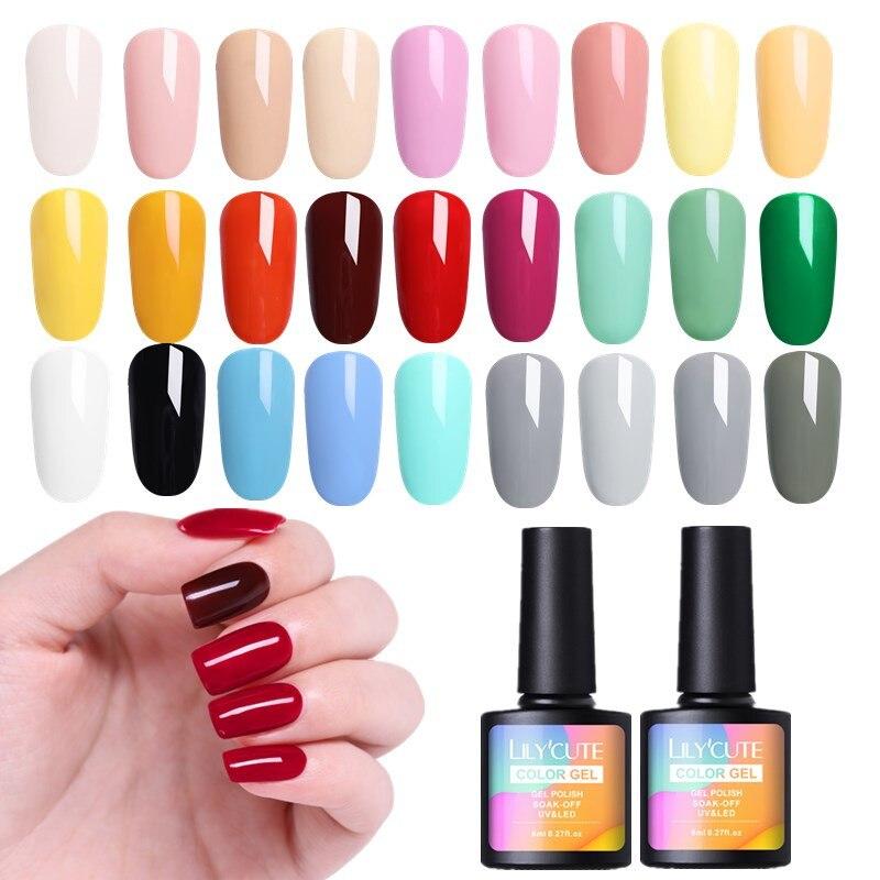 Pink Nail Polish Top Coat: LILYCUTE Nail Polish Pure Color Nail Gel Polish Semi