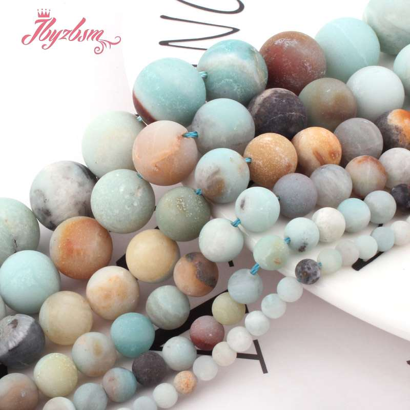 4,6, 8,10mm Multicolor Frost Putaran Amazonite Bead Batu Alam Beads - Perhiasan fashion - Foto 6