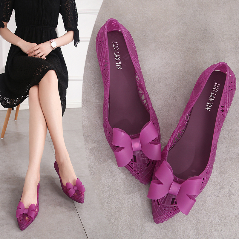 Sandals for Women Flat,Pointed Toe Breathable Hollow Out Low Chunky Heel Shoes Closed Toe Casual Slip On Shoes Party Sandals