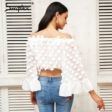 Simplee Flare sleeve applique blouse shirt Women off shoulder hollow out chiffon blusas women tops Summer streetwear blouse