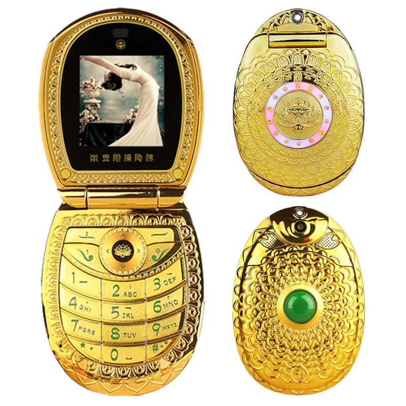 Vintage lotus gradual flower jade buddhism GPRS E book voice mail DV luxury flip metal lady's mini mobile phone cellphone P512