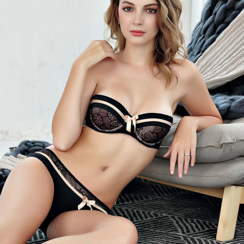 Joy Alice Women Intimate Blac Luxury French Half Cup Ultra Thin Lace Bra Set Strapless Bra and Transparent Pantie