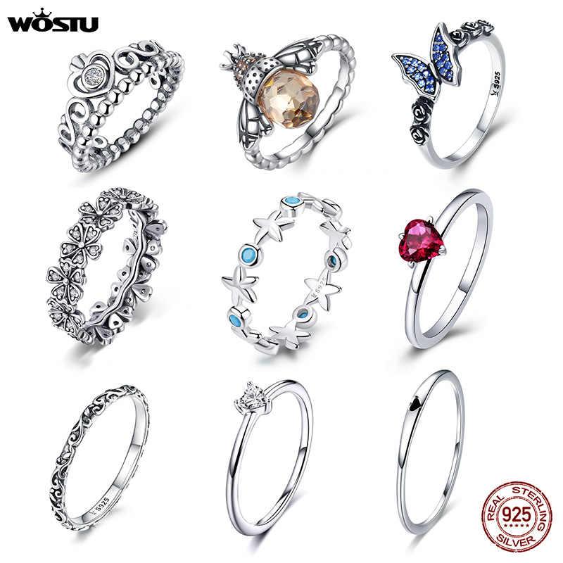 WOSTU 100% 925 Ayar Gümüş Çok Tarzı Narin alyanslar Kadınlar Için Taç Kalp Arı Orijinal Yüzük Nişan Takı