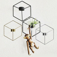 hot deal buy 2019 europe nordic style 3d geometric metal candlestick wall mounted candle holder geometric tea light home decor sconce