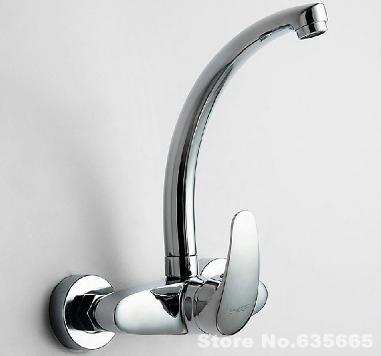 Wall Mounted Chrome Brass Kitchen Sink Faucet Single Handle Hot Cold