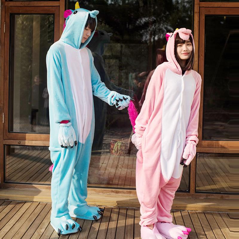 LG Pegasus Unicorn Pajamas Adult Warm Flannel Siamese Cartoon Autumn Winter Pajamas Family Fitted Animal Pajamas