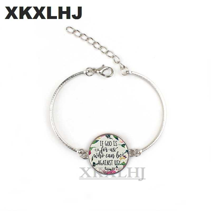 XKXLHJ Fashion Psalm Bracelet Art Picture Print Glass Dome Charms Bracelet Bible Verse Quote Jewelry Gift For Christian