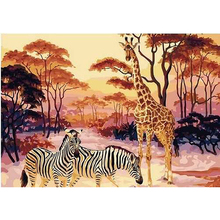No Frame Picture Africa Giraffe DIY Painting By Numbers Animals Modern Wall Art Acrylic Paint On Canvas For Living Room