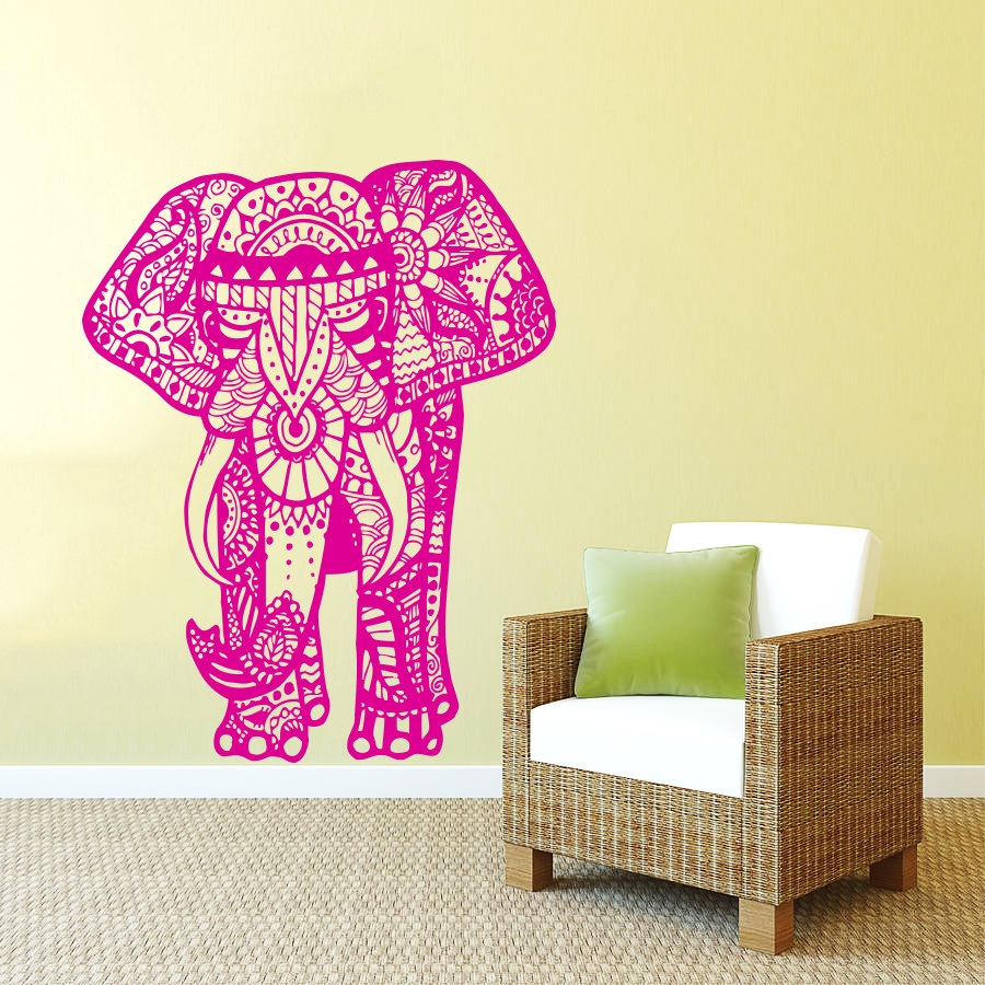 Elephant Wall Decal India Buddha Elephant Wall Sticker Living Room ...