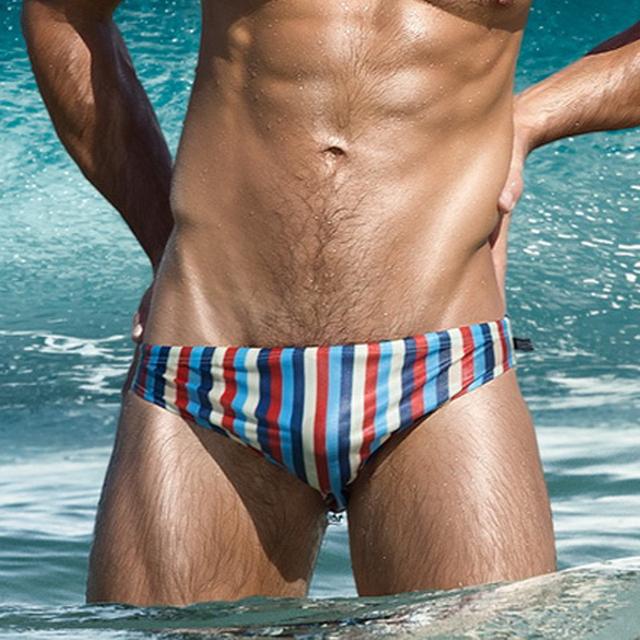 Sexy and fashionable Men's striped swimwear brief