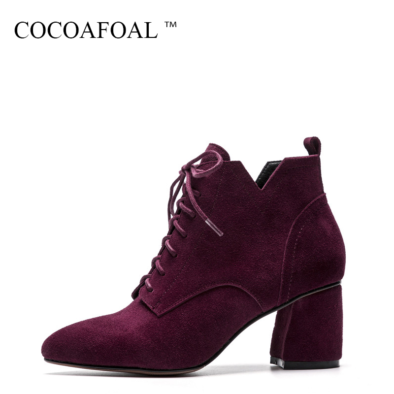 COCOAFOAL Woman Winter Genuine Leather Lace Up Ankle Boots Black Pointed Toe Martin Boots Fashion Sexy High Heeled Shoes 2018 cocoafoal woman genuine leather ankle boots autumn winter 9 cm high heel shoes black apricot fashion sexy pointed toe boots 2018