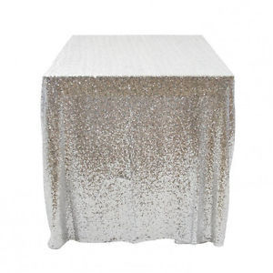 Half Meter Sequin Fabric,Shiny Silver Sequin Glamorous Tablecloth For  Wedding/Dessert