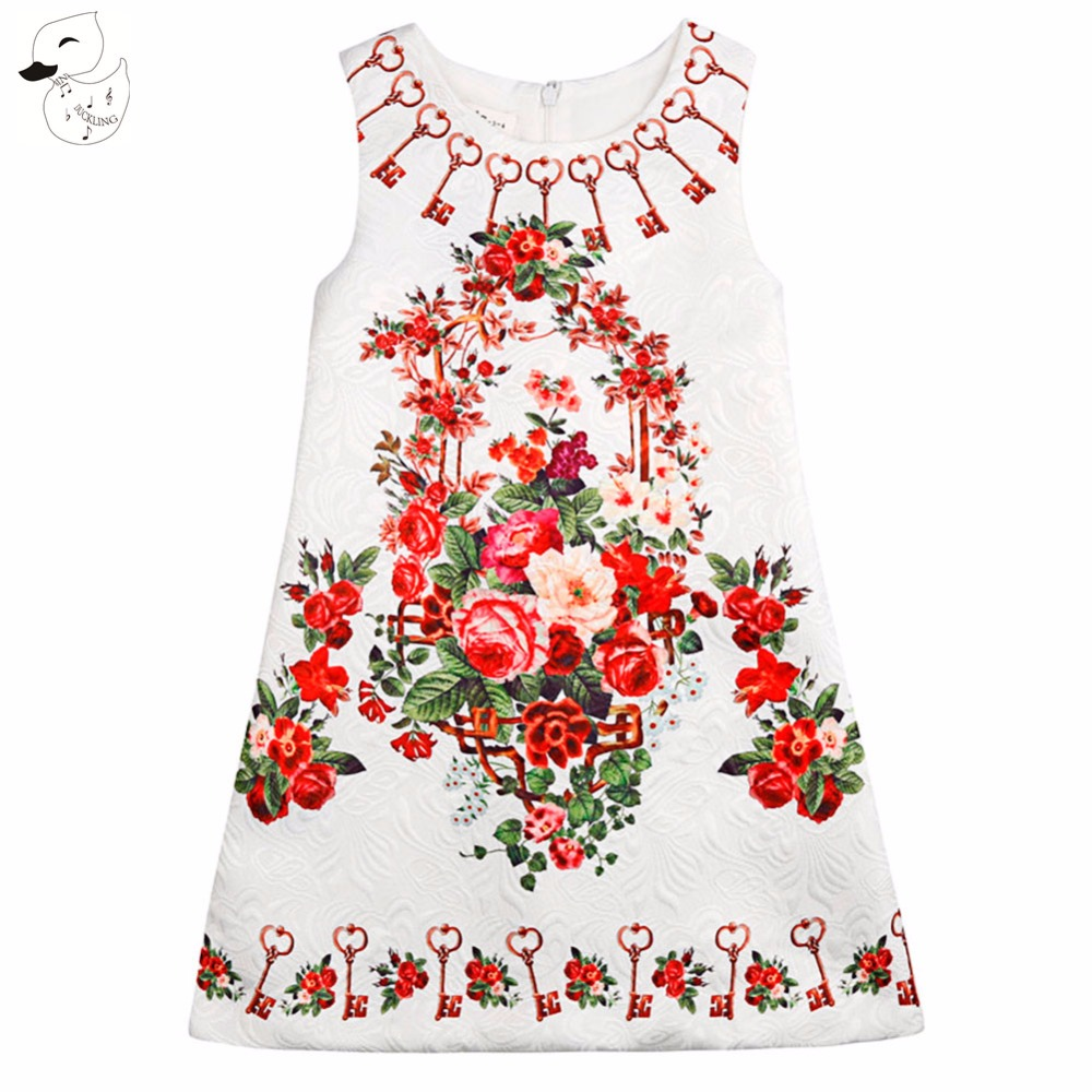 BINIDUCKLING Hot Sale Summer Rose Flower Printed Baby Girls Clothes Princess Dress for Party Dress Childrens Clothes 1PC