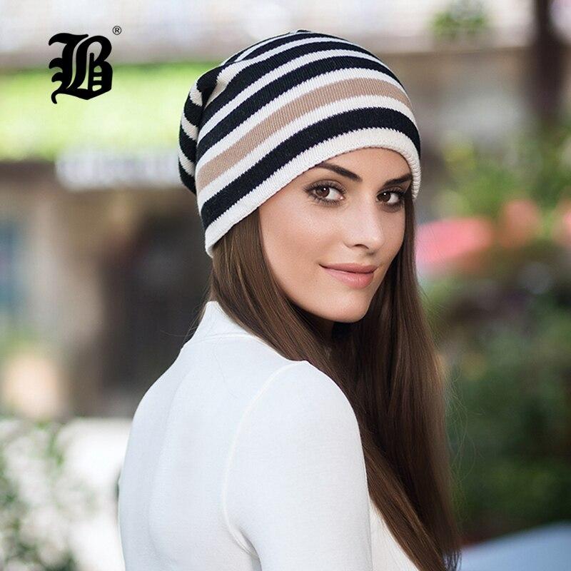 [FLB] Winter Hat   Skullies     Beanies   For Knitted Hat Women Mask Thick Balaclava Earflap Wool Striped Bonnet   Beanie   Hats Cap F18057