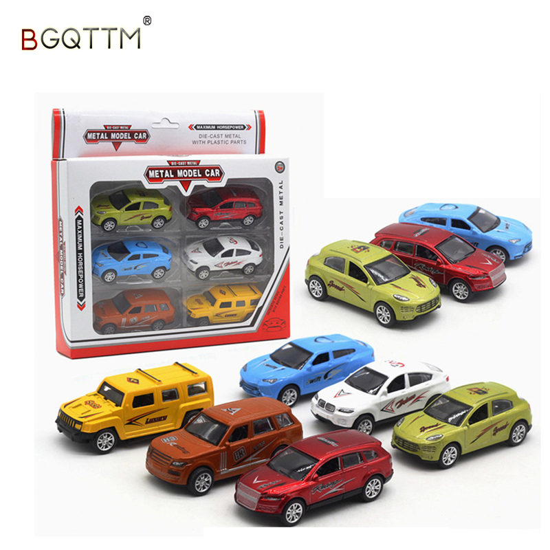 6PCS HOT 1:64 Alloy Model Slide Car Toys For Kids Mini Metal Toy Car Set Boys Wheels Cars Wheels A Set Best High Quality Gifts