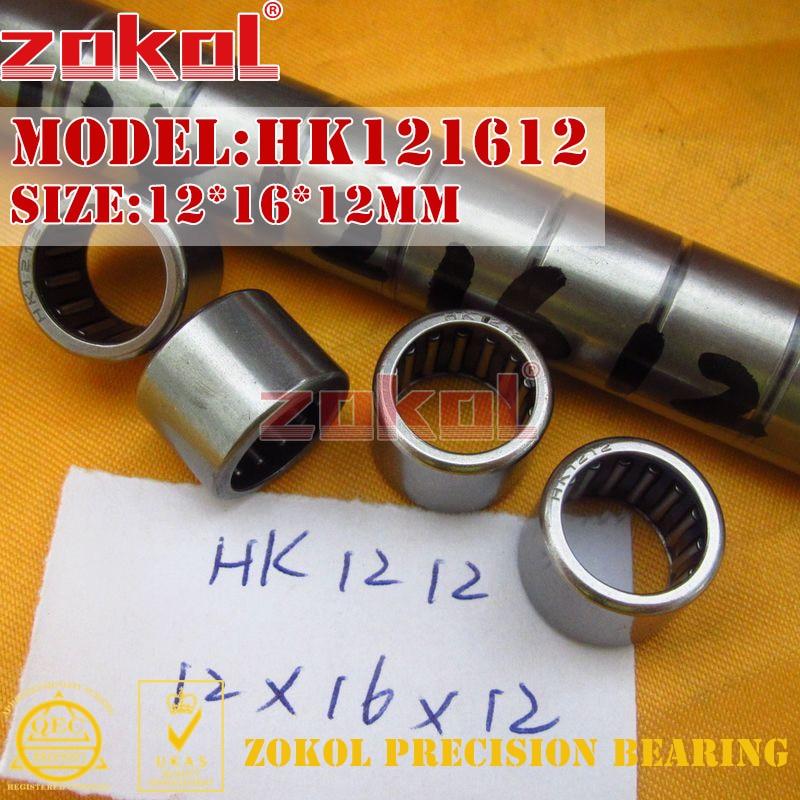 ZOKOL Bearing HK1208 HK1210 HK1212 Drwan Cup Caged Needle Roller Bearing 12*16*08/10/12mm