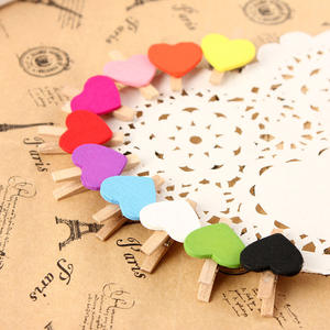 OOTDTY 10Pcs Mini Hearts Wooden Photo Wedding Home Decor
