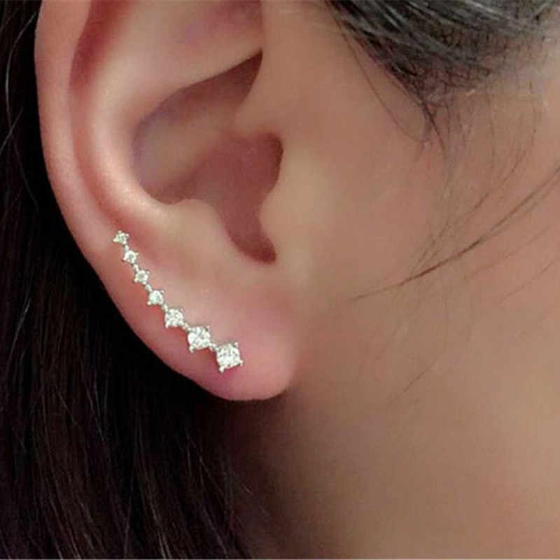 Big Dipper Four-Prong Setting 7pcs Crystal  Gold Color Ear Hook Stud Earrings Fashion Jewelry women  Fashion Crystal Earrings