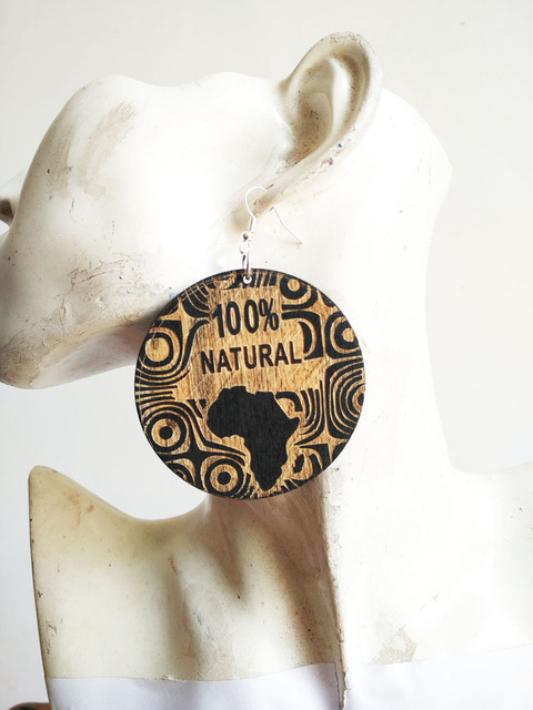 100% Natural Wooden Laser Cut African Map Earrings