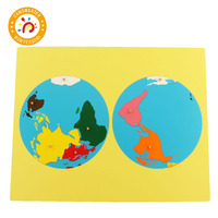 Color Parts Puzzles of World Montessori Maps With Knob Games Geography Children Wooden Board Toys Teaching Aids Puzzle World Map