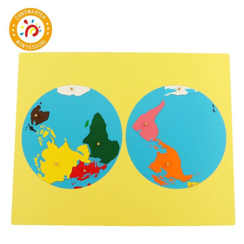 Pièces de couleur Puzzles du monde cartes Montessori avec bouton jeux géographie enfants planche de bois jouets aides pédagogiques Puzzle carte du monde