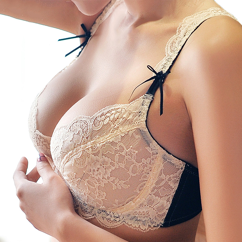 Sexy Thin Unlined plus size   Bra   underwear   Set   white Women's V Secret Transparent   Bra   A/B/C/D cup Support Lace   Bra   Embroidery
