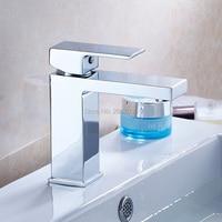 Free Shipping New Design Square Faucet Brass Basin Faucet Bathroom Mixer Tap Deck Mount Faucet Chrome Color Water Tap ZR639