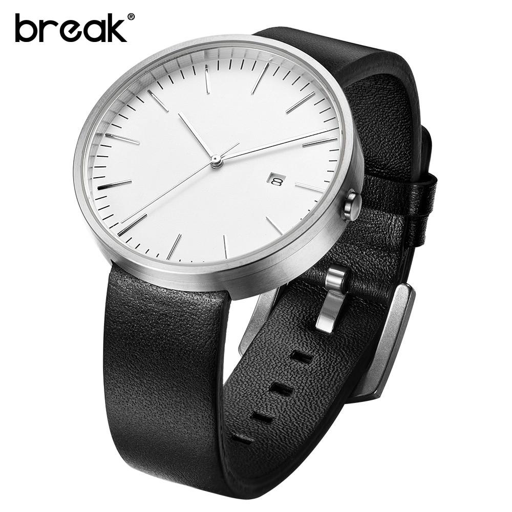 Break Top Men Women Simple Fashion Style Quartz Wristwatch Steel Case Genuine Leather Galendar Waterproof For