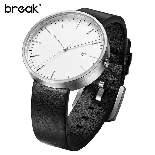Break Top Men Women Simple Fashion Style Quartz Wristwatch Steel Case Genuine Le