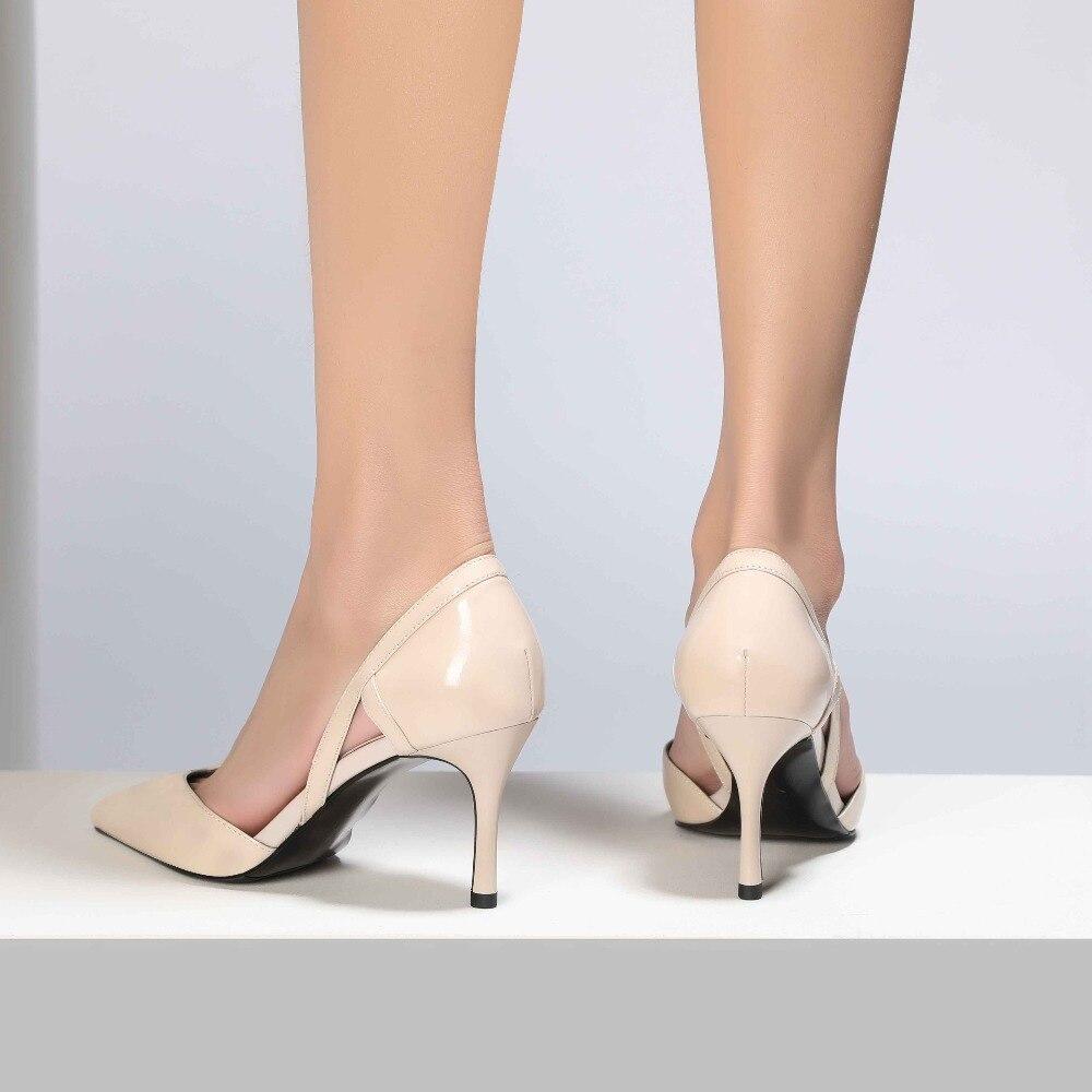 Pompes Femmes Mince Dame Peu Beige Dijigirls Bout Bureau Véritable Chaussures Haute Creux Cuir Stylet noir rose Pointu Rétro En Talons Vintage Profonde 7aHqwZP78