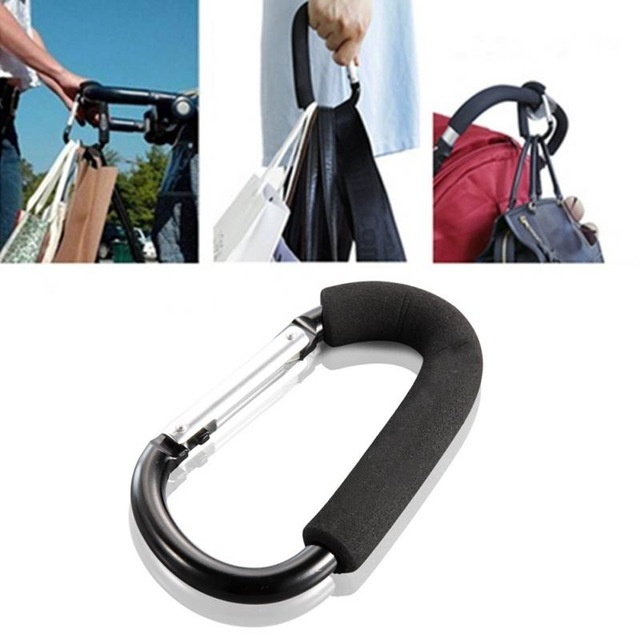 Baby Stroller Bag Holder Hook Clasp Clip Metal Carabiner Load-bearing Buckle For Hanging Diaper Bag Shopping Bag Backpack Hanger