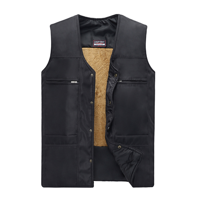 Elderly Man Fleece Herringbone Vests Grandpa Warm Gilet Middle Aged Men's Black Waistcoat Father Thicken Vests Sleeveless Jacket